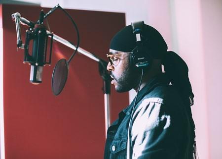 Artist in recording studio